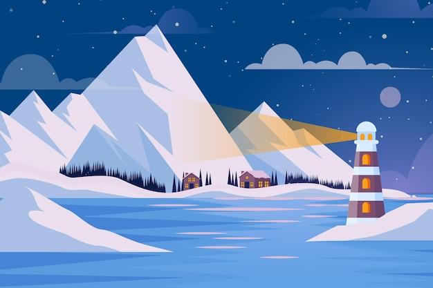 Плоский дизайн зимний пейзаж Бесплатные векторы