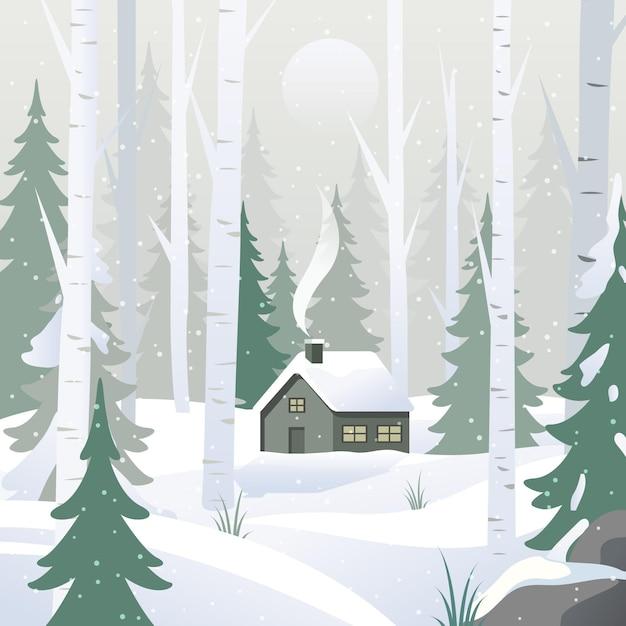 フラットなデザインの冬の風景 無料ベクター