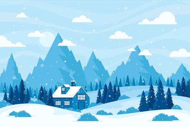 フラットなデザインの冬の風景 Premiumベクター