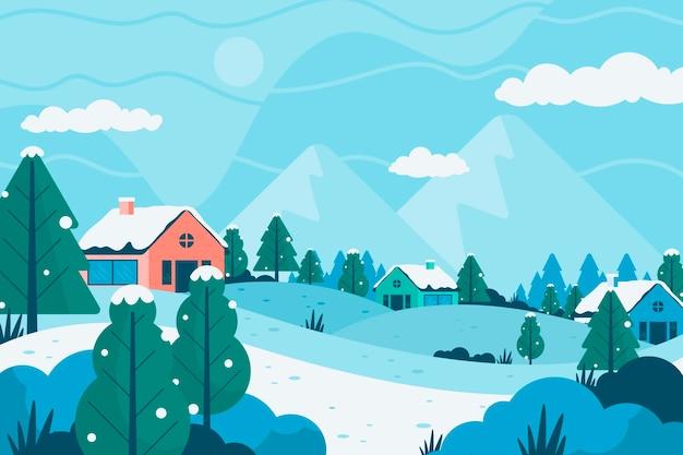 평면 디자인 겨울 풍경 프리미엄 벡터