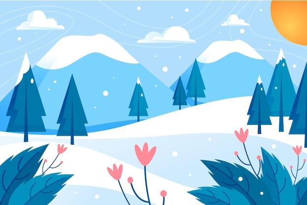 Flat design winter landscape Free Vector