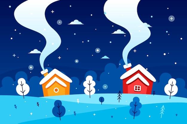 Paesaggio invernale design piatto Vettore gratuito