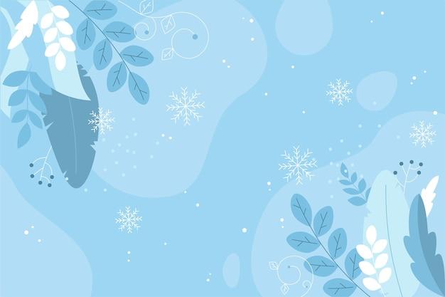 フラットなデザインの冬の葉の背景 Premiumベクター