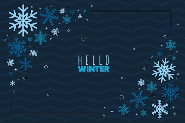 フラットなデザインの冬の葉の壁紙 Premiumベクター