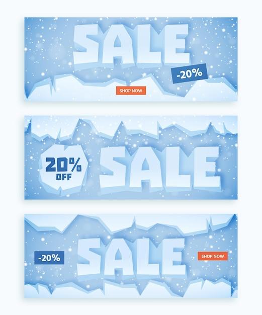 Набор баннеров зимней распродажи в плоском дизайне Бесплатные векторы