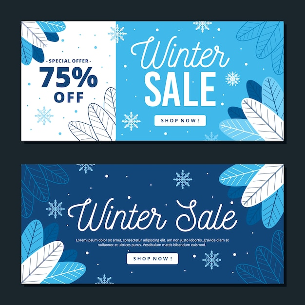 Flat design winter sale banners template Free Vector