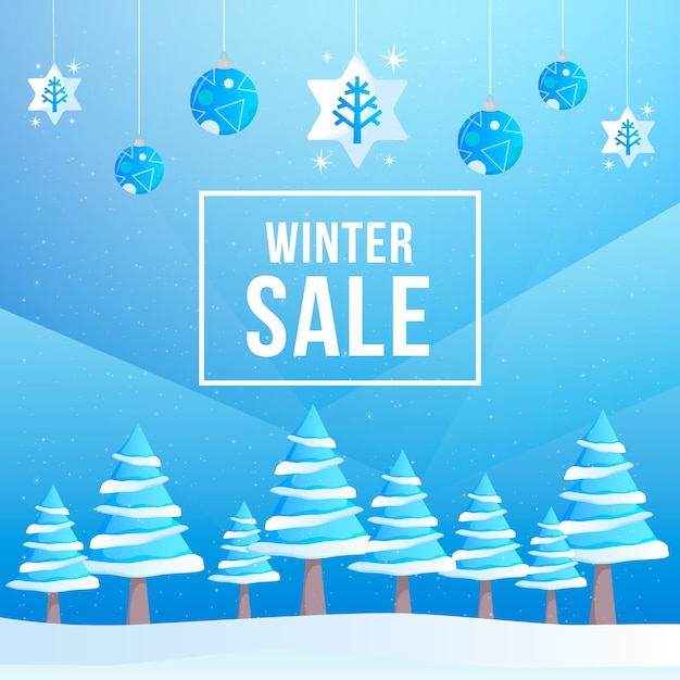 Flat design winter sale concept Free Vector