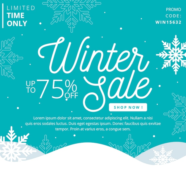 Flat design winter sale concept Free Vector
