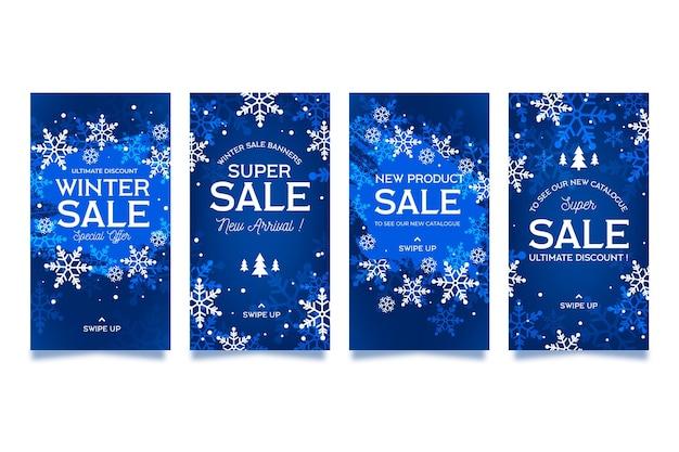 Set di storie di instagram di vendita invernale design piatto Vettore gratuito