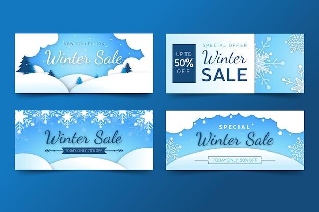 フラットデザイン冬のセールプロモーションバナーセット 無料ベクター