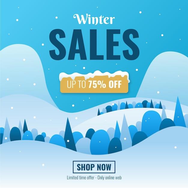 Flat design winter sale Free Vector