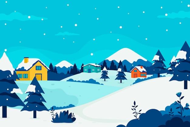 フラットなデザインの冬の村の風景 無料ベクター
