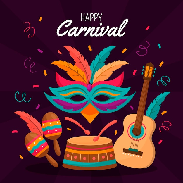 Flat design with colorful carnival elements Free Vector