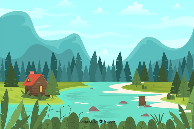 Flat design with natural landscape Free Vector