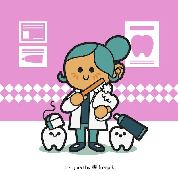 Flat design woman dentist character Free Vector