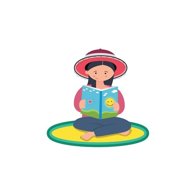 Flat design woman is reading a book Premium Vector