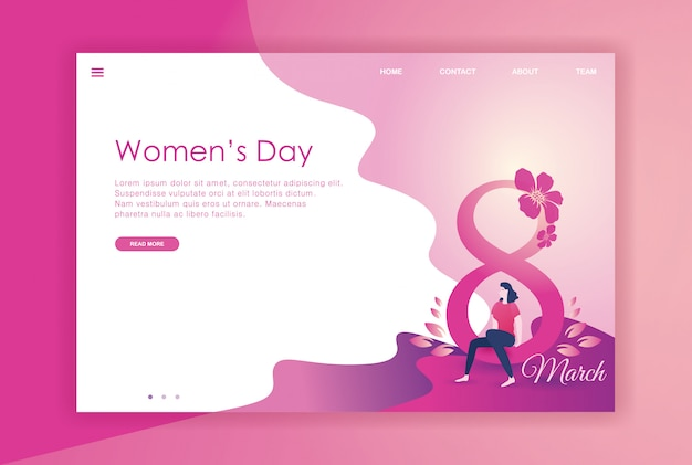 웹 사이트를위한 평면 디자인 여자 국제 날 프리미엄 벡터