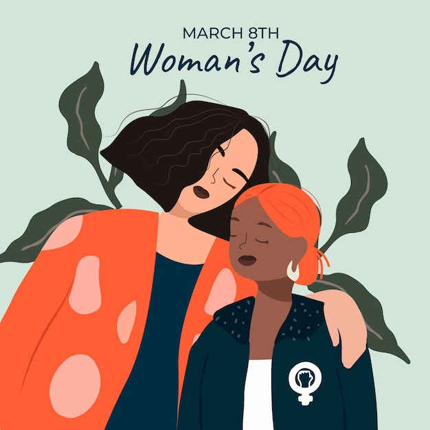 Flat design womens day event Free Vector
