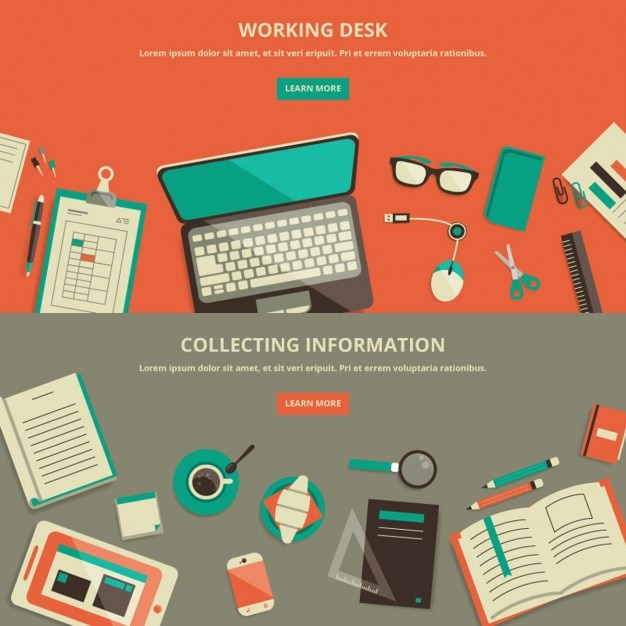Flat design work space banner Free Vector