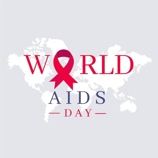 Flat design world aids day symbol Premium Vector