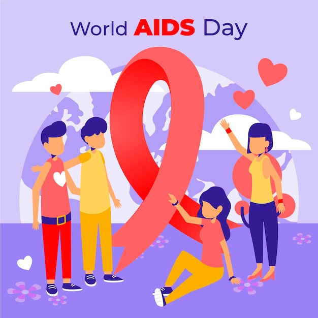 Flat design world aids day Free Vector