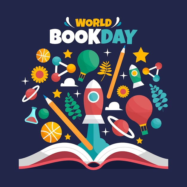 Flat design world book day background Free Vector