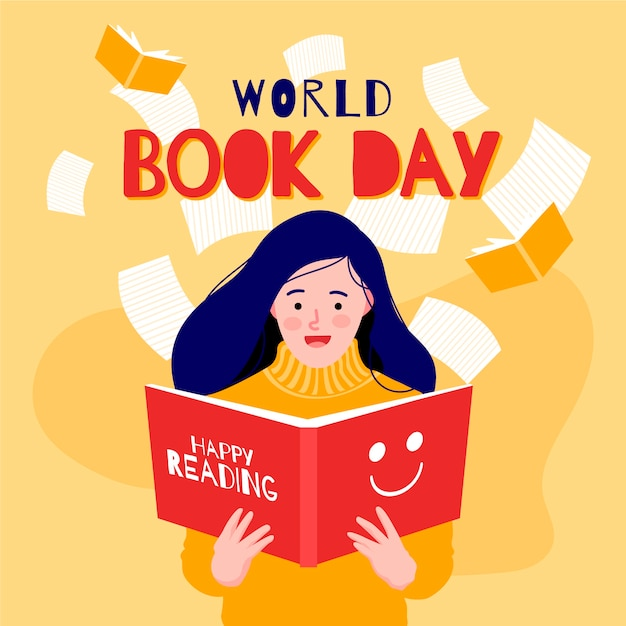 Flat design world book day concept Free Vector