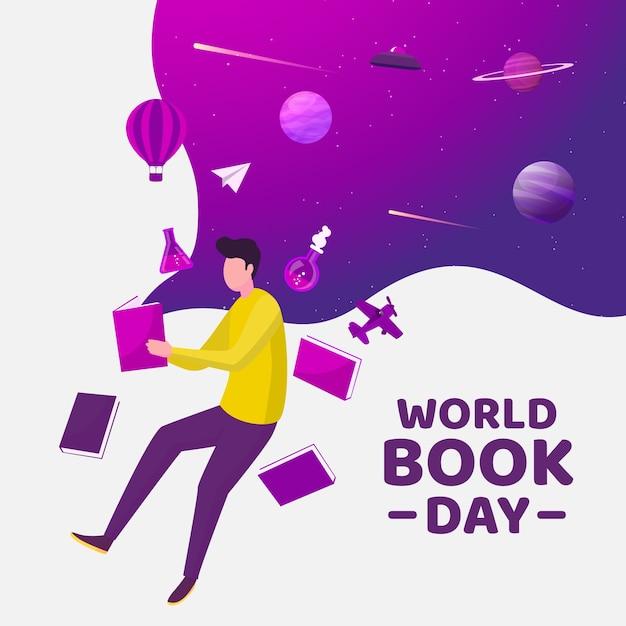 フラットなデザインの世界の本の日のコンセプト 無料ベクター