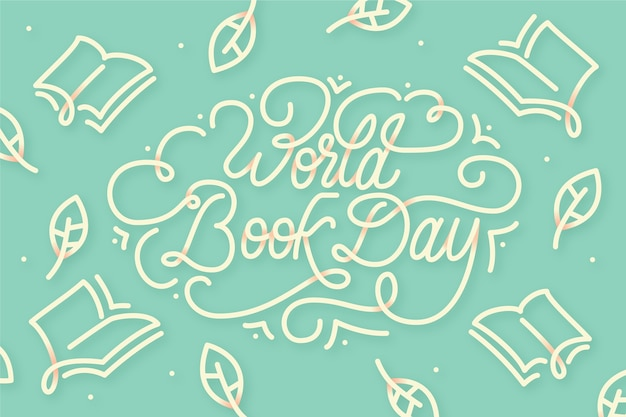Flat design world book day lettering Free Vector