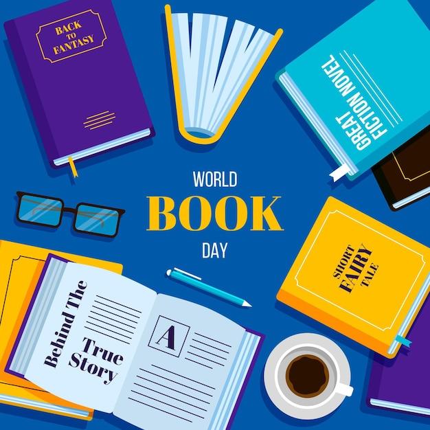 평면 디자인 세계 책의 날 무료 벡터