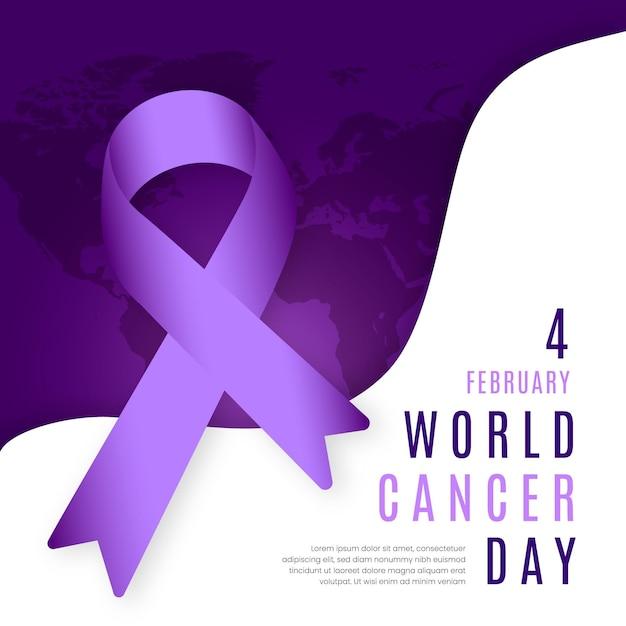 리본 플랫 디자인 세계 암의 날 배경 무료 벡터