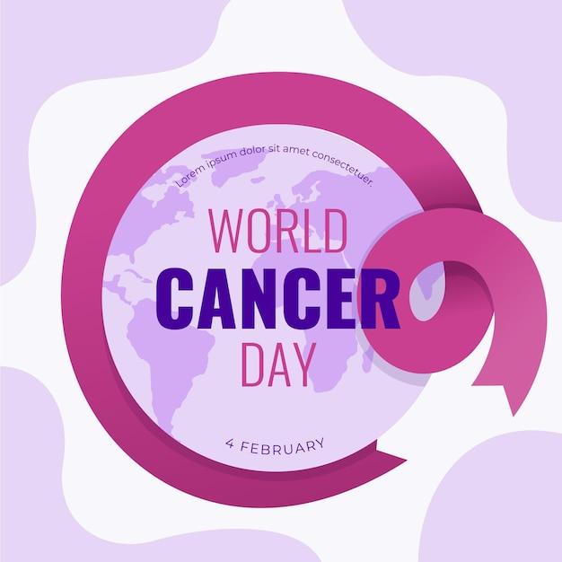 Giornata mondiale del cancro design piatto Vettore gratuito