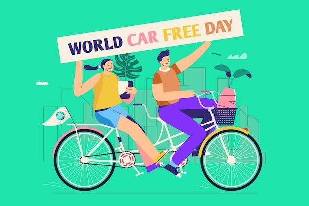 女と男とフラットなデザインの世界車無料日の背景 無料ベクター