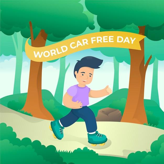 Design piatto giornata mondiale senza auto sfondo Vettore gratuito