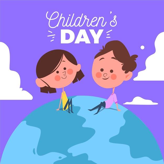 Design piatto giornata mondiale dei bambini concetto Vettore gratuito