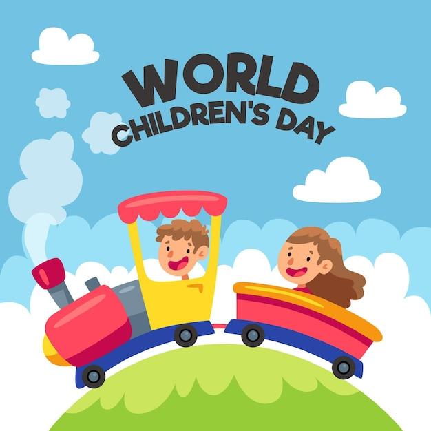Flat design world childrens day Free Vector