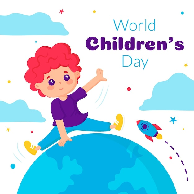 Flat design world childrens day Free Vector