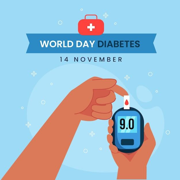 Плоский дизайн всемирного дня диабета глюкометр Premium векторы