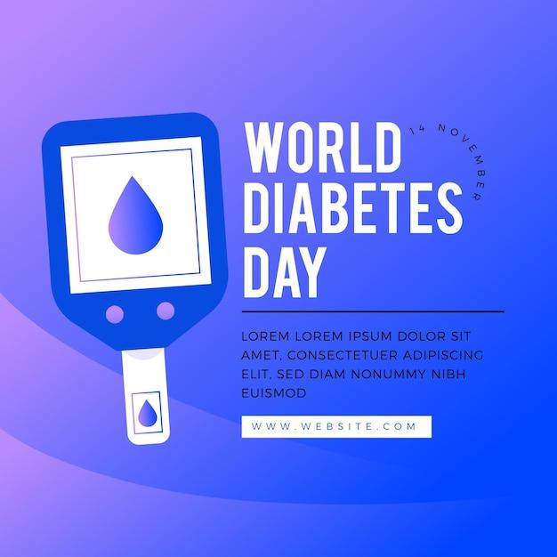 Плоский дизайн шаблона всемирного дня диабета Бесплатные векторы