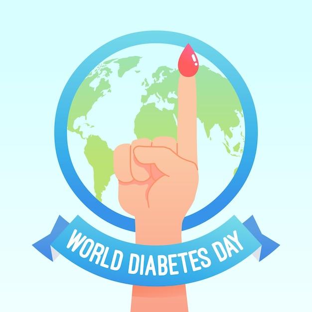 Плоский дизайн всемирного дня диабета с пальцем Premium векторы