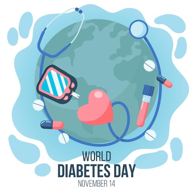 Плоский дизайн всемирного дня диабета с медициной Premium векторы