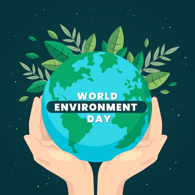 Flat design world environment day background Free Vector