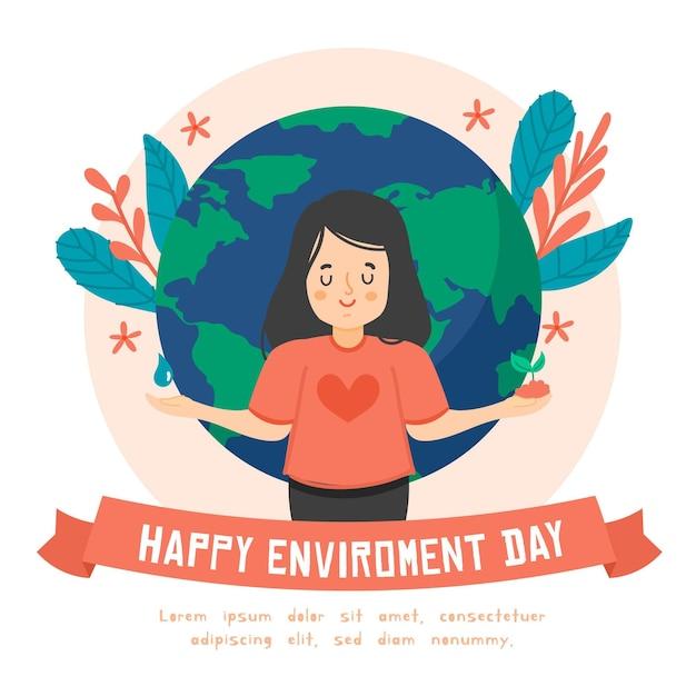 Concetto di giornata mondiale dell'ambiente design piatto Vettore gratuito