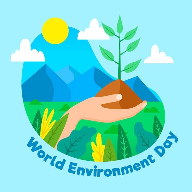 フラットなデザインの世界環境の日のコンセプト 無料ベクター