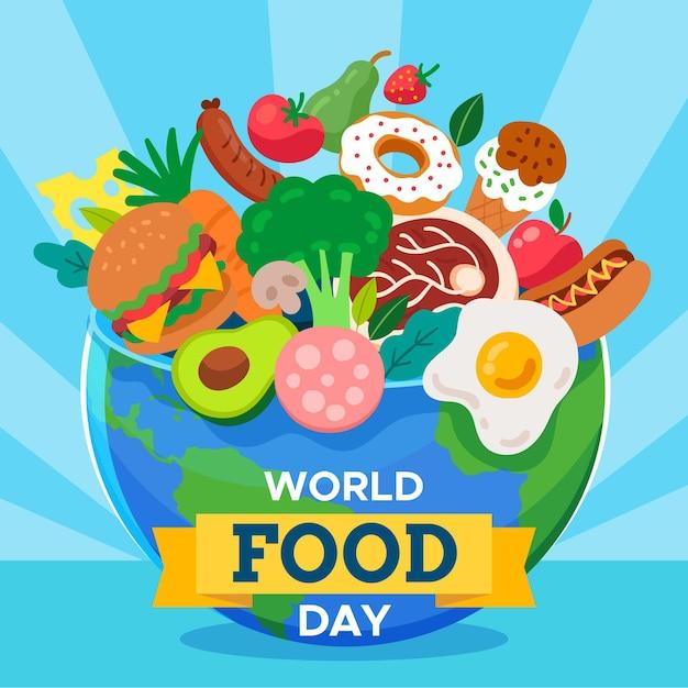 Плоский дизайн всемирного дня еды фон с глобусом Бесплатные векторы