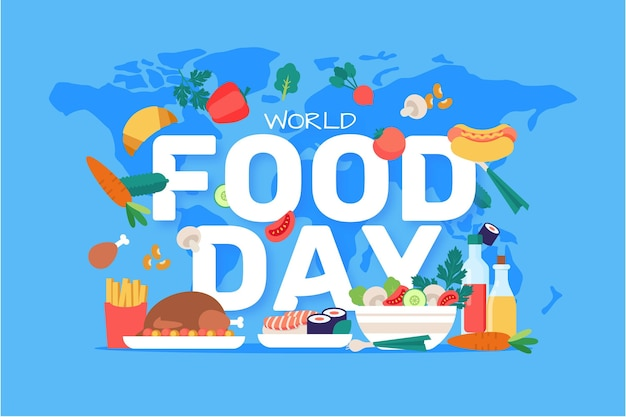 Flat design world food day background with world map Free Vector