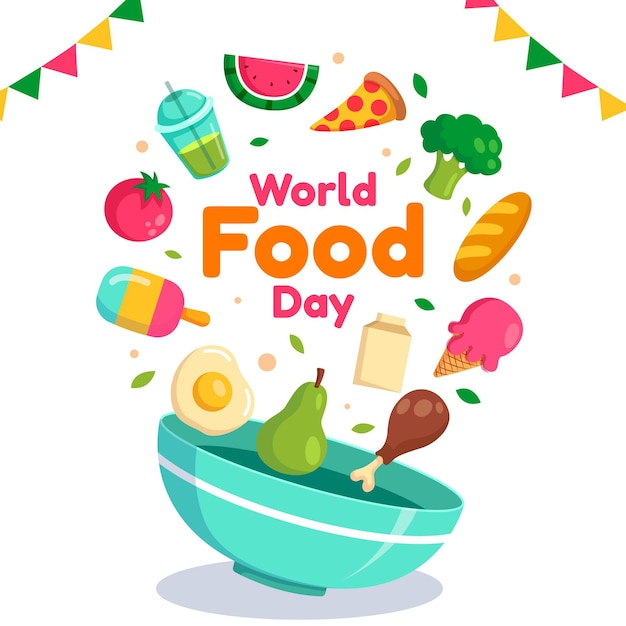Flat design world food day background Premium Vector