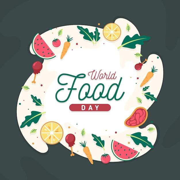 Sfondo di giornata mondiale dell'alimento design piatto Vettore gratuito