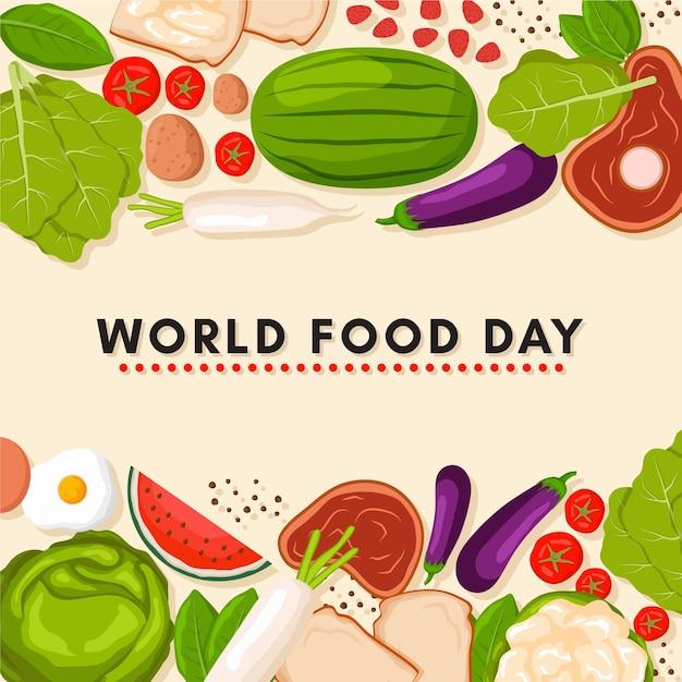 평면 디자인 세계 음식의 날 배경 프리미엄 벡터