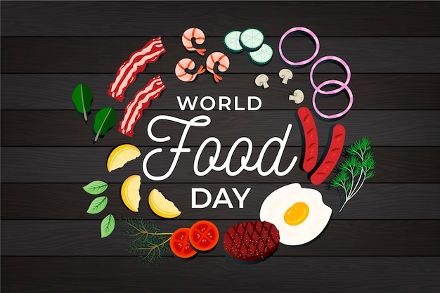 Flat design world food day illustration on wooden background Free Vector